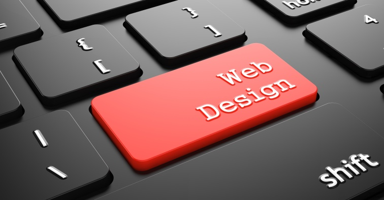 Web Design on Red Keyboard Button.